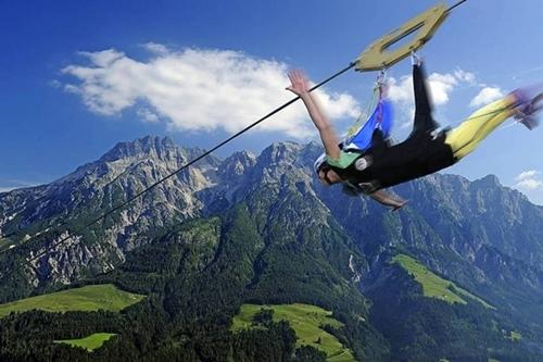 Flying Fox XXL Leogang near Salzburg, Austria,