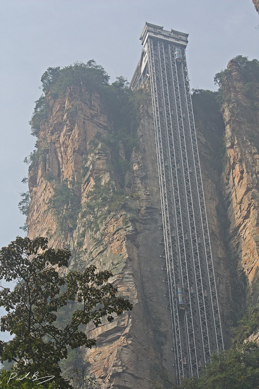 Climb Up The Hill With Elevator At Bailong Elevator China